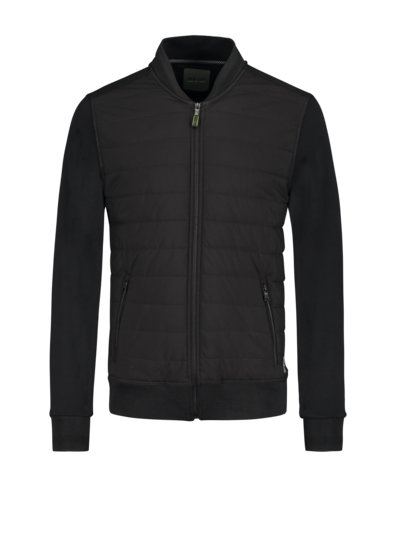 Sweatjacke in hybridem Design in SCHWARZ