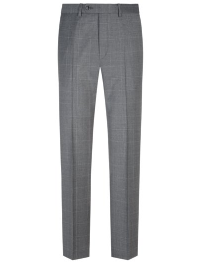 Business trousers with windowpane check pattern v GREY