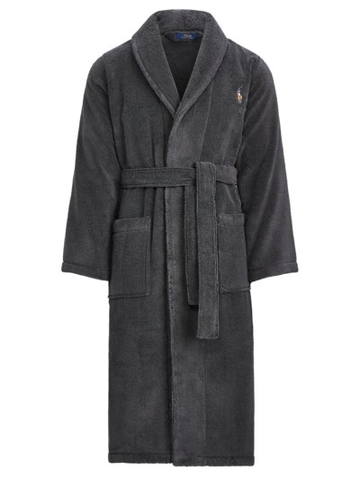 Dressing gown in terrycloth fabric v ANTHRACITE