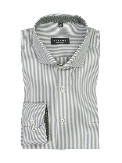 Business shirt with a stripe pattern v GREEN