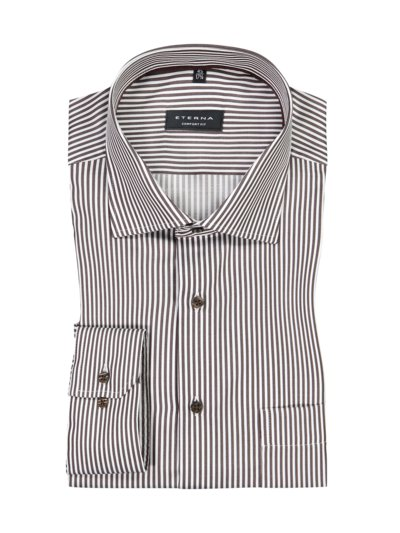 Business shirt with a stripe pattern v BROWN