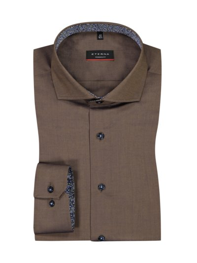Shirt with shark collar, Modern Fit, extra long sleeves v BROWN