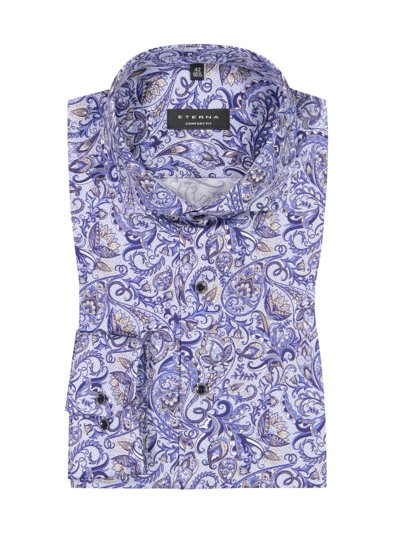 Business shirt with paisley pattern, extra long sleeves v BLUE