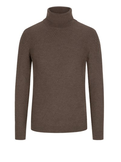Turtleneck sweater with stylish texture v BROWN
