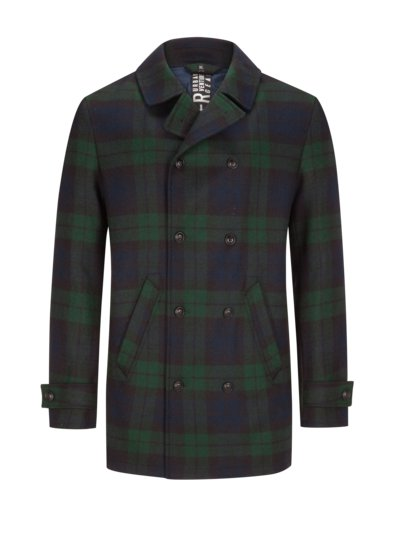 Peacoat with check pattern, Yorkshire tweed v MARINE