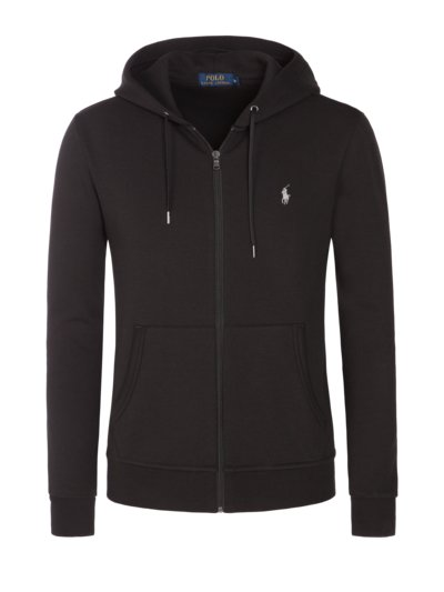 Sweater jacket with hood v BLACK