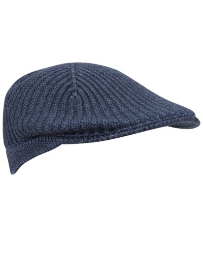 Knitted flat cap v BLUE