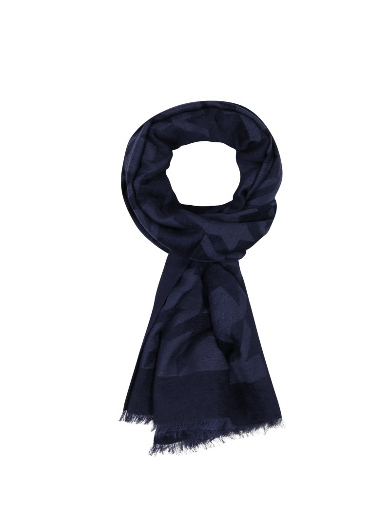 Altea Scarf with large houndstooth pattern MARINE in plus size