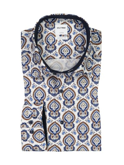 Luxor comfort fit Hemd, im All-Over-Print in WEISS