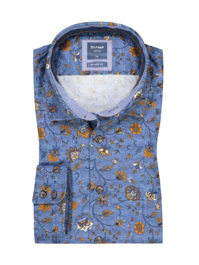 Casual modern fit shirt with floral paisley v BLUE