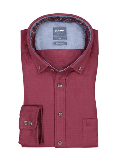 Casual modern fit Flanellhemd in ROT