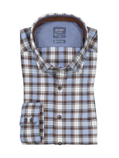 Casual flannel shirt in a modern fit with check pattern v LIGHT BLUE