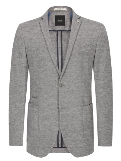 Jersey jacket with micro texture v GREY