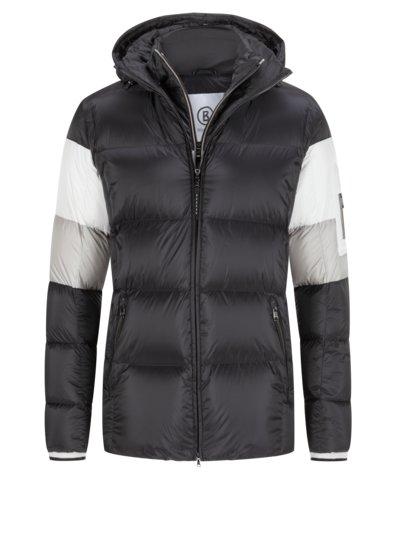 Down jacket with ripstop fabric, Elas-D v BLACK