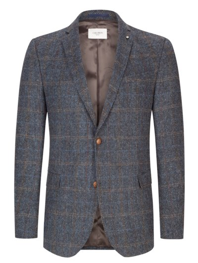 Blazer with overcheck pattern in Harris tweed v BLUE