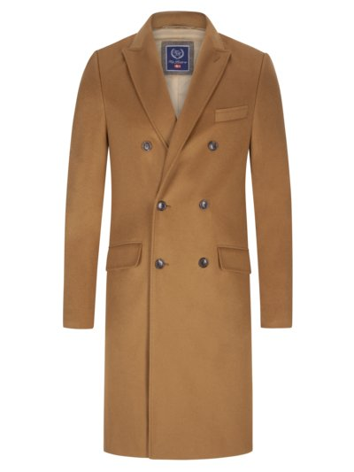 Double-breasted coat with cashmere content v BROWN