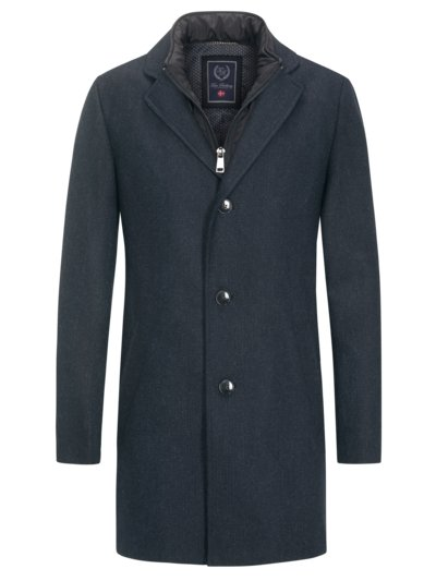 Coat with micro texture and yoke v BLUE