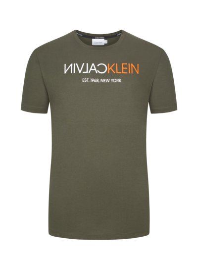 T-shirt with fashionable front print v OLIVE-