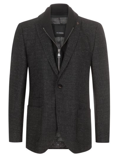 Blazer with micro pattern, with a removable yoke v BLACK