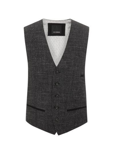Vest with checked texture v ANTHRACITE