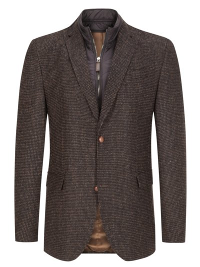 Smart-casual jacket with micro texture, Harris tweed v BROWN