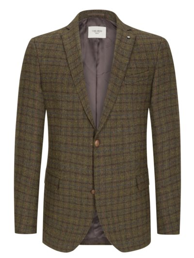 Blazer with overcheck pattern in Harris tweed v OLIVE-