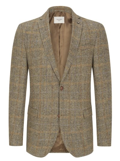Blazer with herringbone pattern, Harris tweed v BROWN