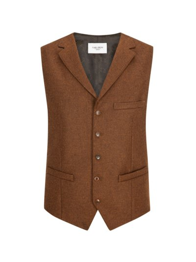 Vest with lapel collar v COGNAC