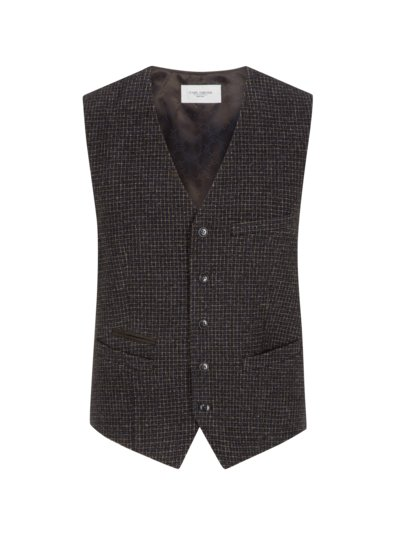 Vest with micro check v BROWN