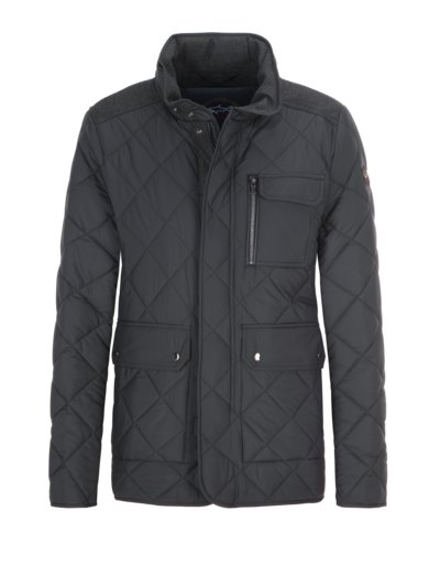 Quilted jacket with integrated hood v BLACK