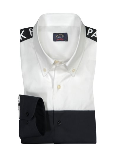 Casual shirt with contrasting design v BLACK