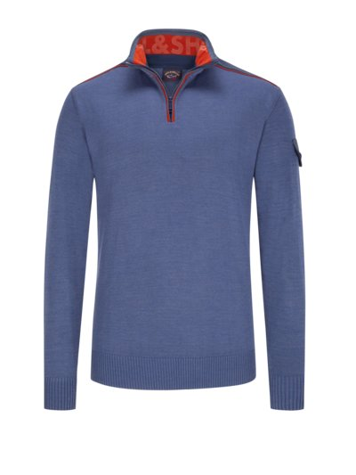 Troyer sweater in a virgin wool blend v BLUE