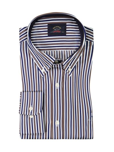 Striped shirt made of pure cotton v BROWN