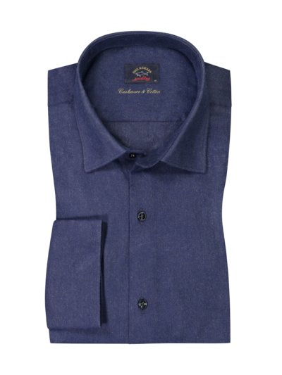 High-quality shirt with cashmere content v BLUE