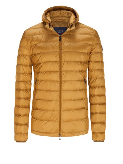 Quilted down jacket with hood v LIGHT BROWN