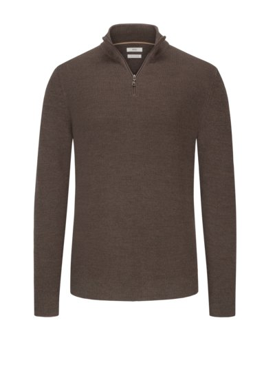 Sweater with Troyer collar v BROWN