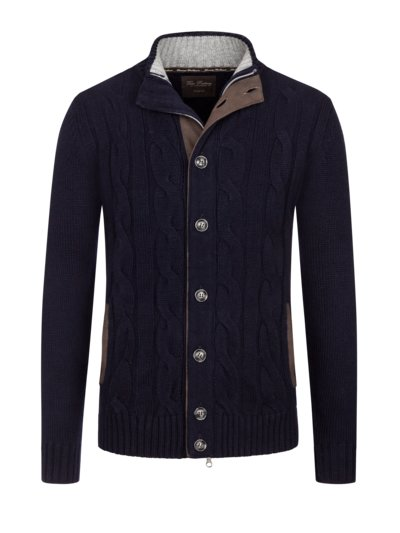 Cable knit cardigan, pure cashmere v MARINE