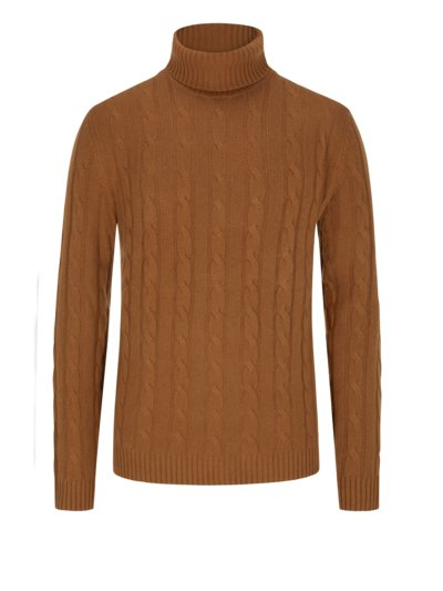 Turtleneck sweater made of 100% cashmere v CAMEL