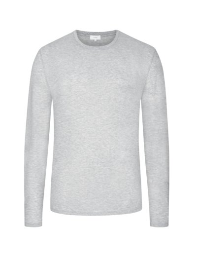 Langarmshirt, O-Neck in GRAU