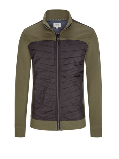Sweatjacke mit gesteppter Front in OLIV