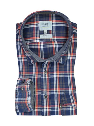 Casual shirt with check pattern v BLUE