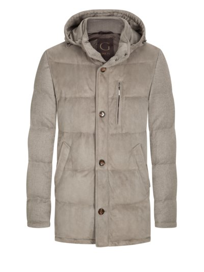 High-quality parka with suede v GREY