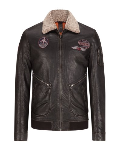 Aviator jacket with faux fur collar v BLACK