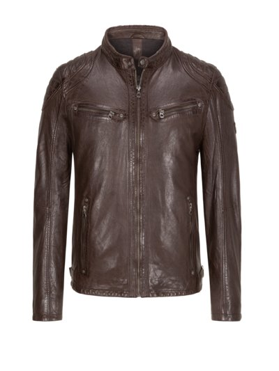 Leather jacket in a biker style v BROWN