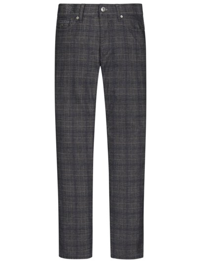 Trousers with glen check pattern in a wool look v BROWN