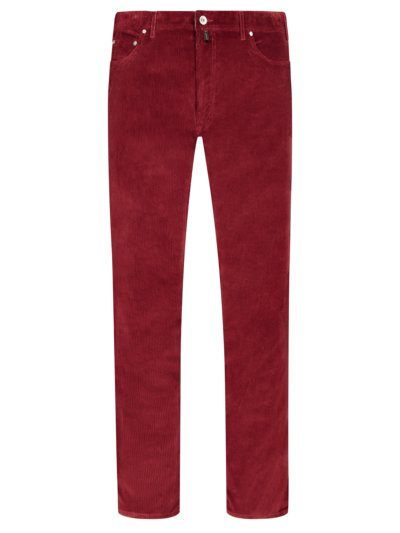 Five-pocket trousers in fine corduroy v RED