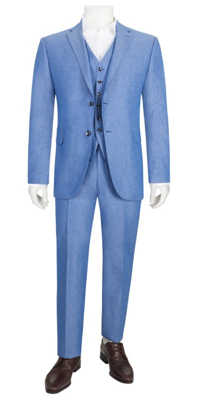 Suit separates three-piece suit in a cotton and linen blend v LIGHT BLUE