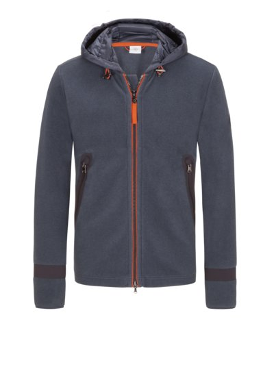 Fleece jacket with hood v BLUE