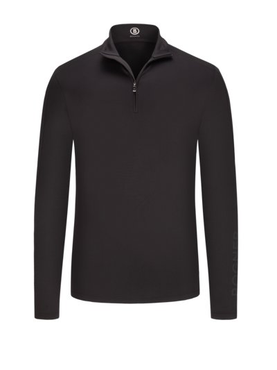Sporty sweatshirt with Troyer collar v BLACK
