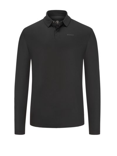 Long-sleeved polo shirt with Performance Cotton v BLACK